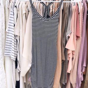 Black stripped midi dress